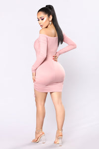 Year Of The Rabbit Ruched Dress - Rose