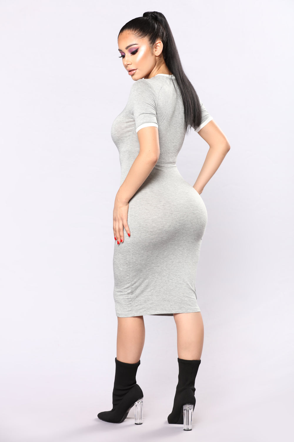 Love The Game Midi Dress - Heather Grey