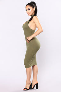 Stacy's Mom Choker Dress - Olive
