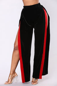 Soft To Touch Velvet Slit Pants - Black/Red