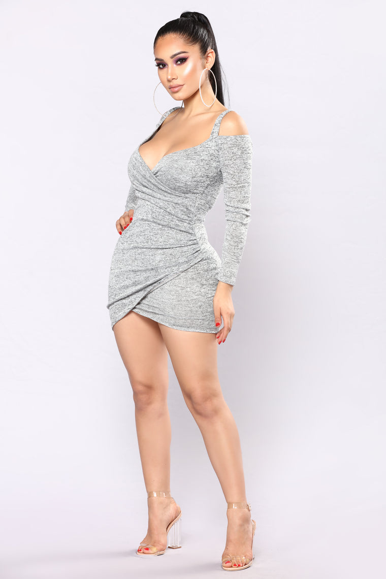 Get Together Party Dress - Heather Grey
