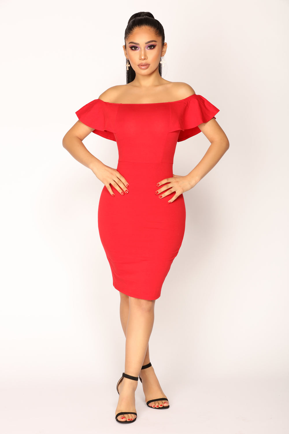 Berenice Flounce Dress - Red