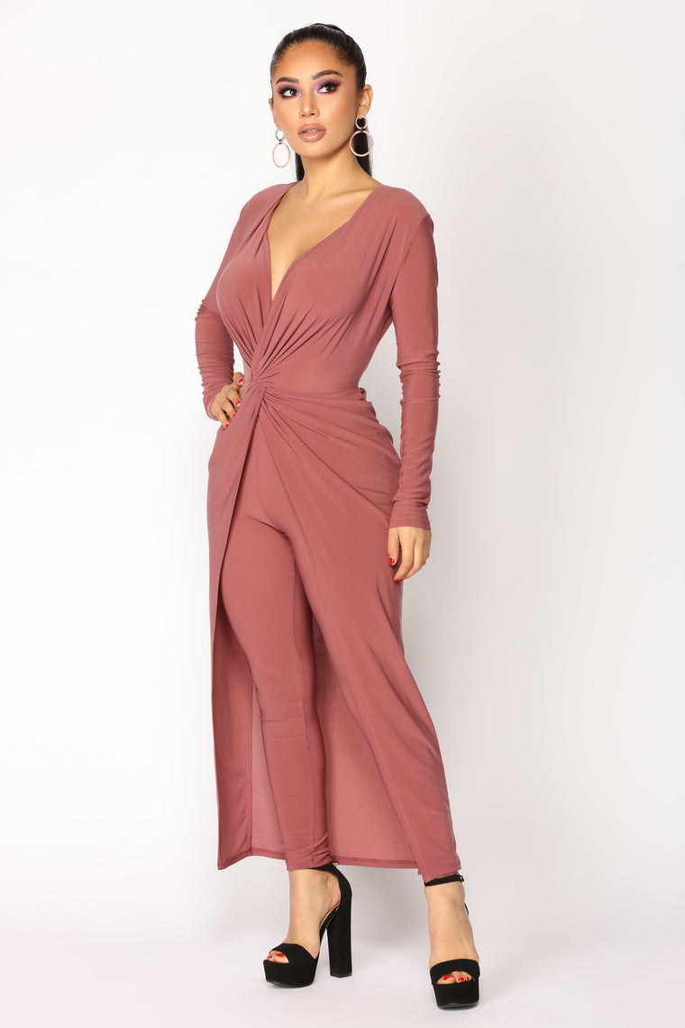 Carissa Draped Dress - Red Brown