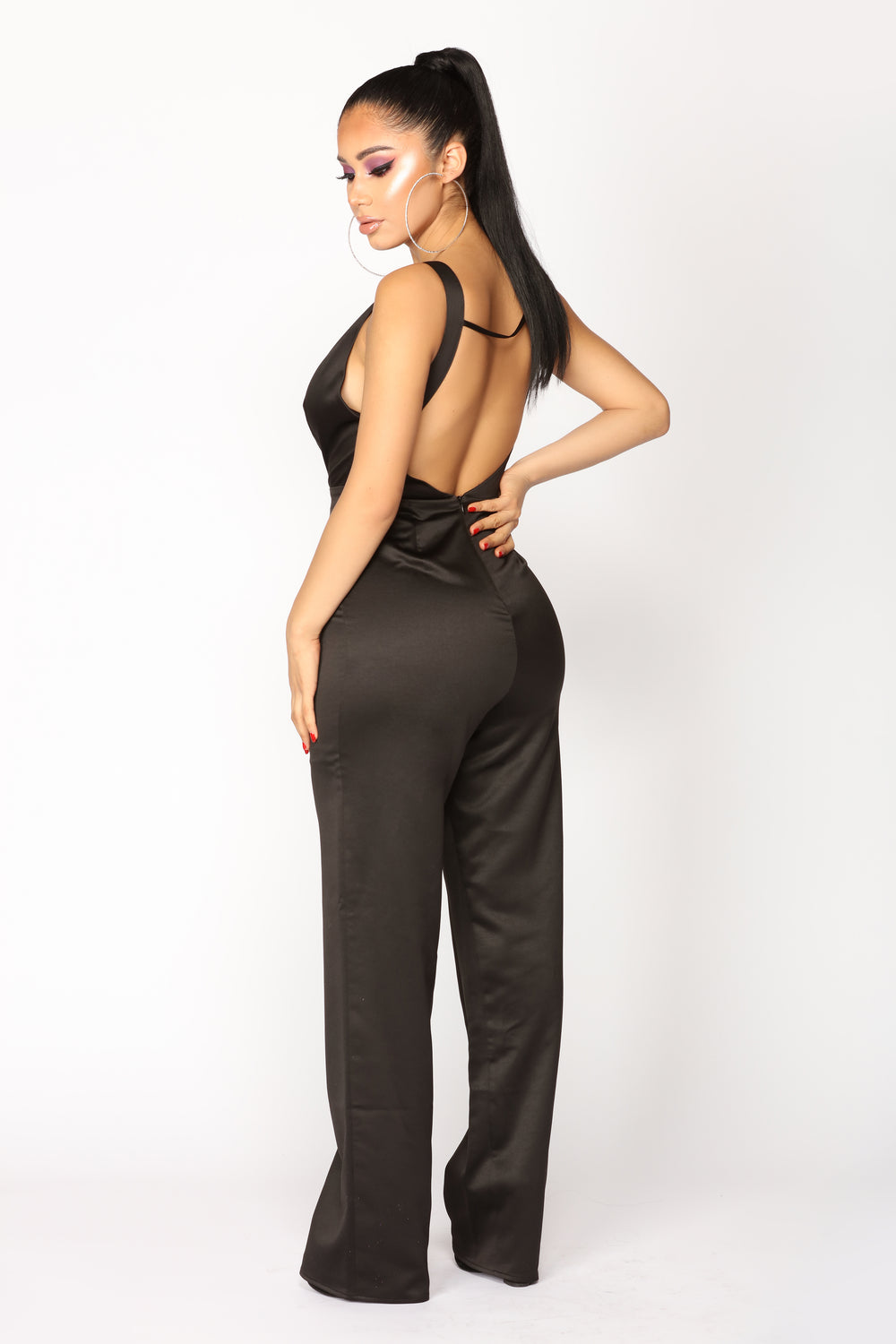 Time To Spare Satin Jumpsuit - Black