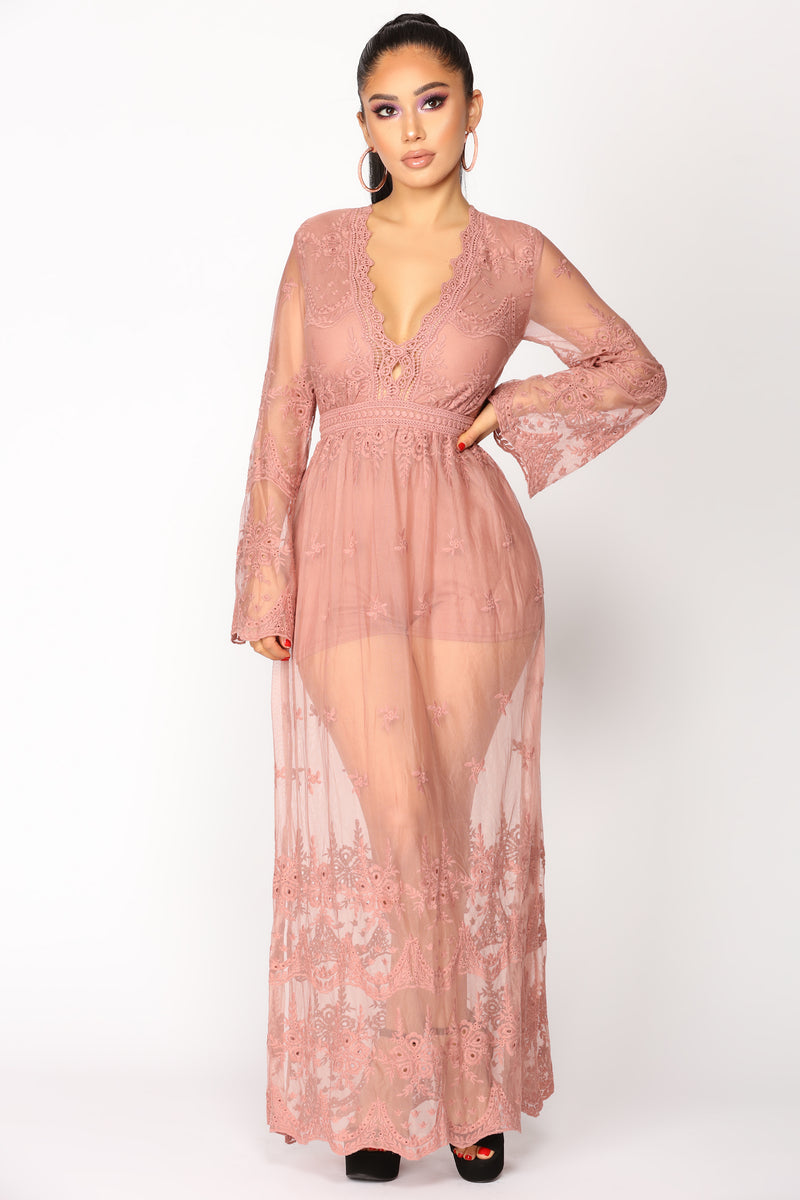Love On The Brain Lace Dress - Mauve