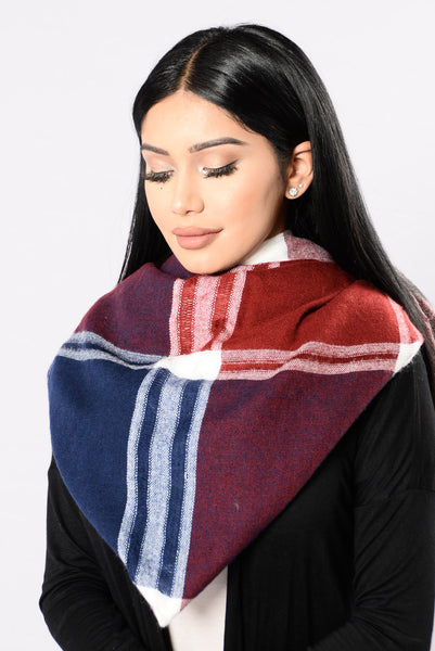 Seasonally Appropriate Blanket Scarf - Burgundy