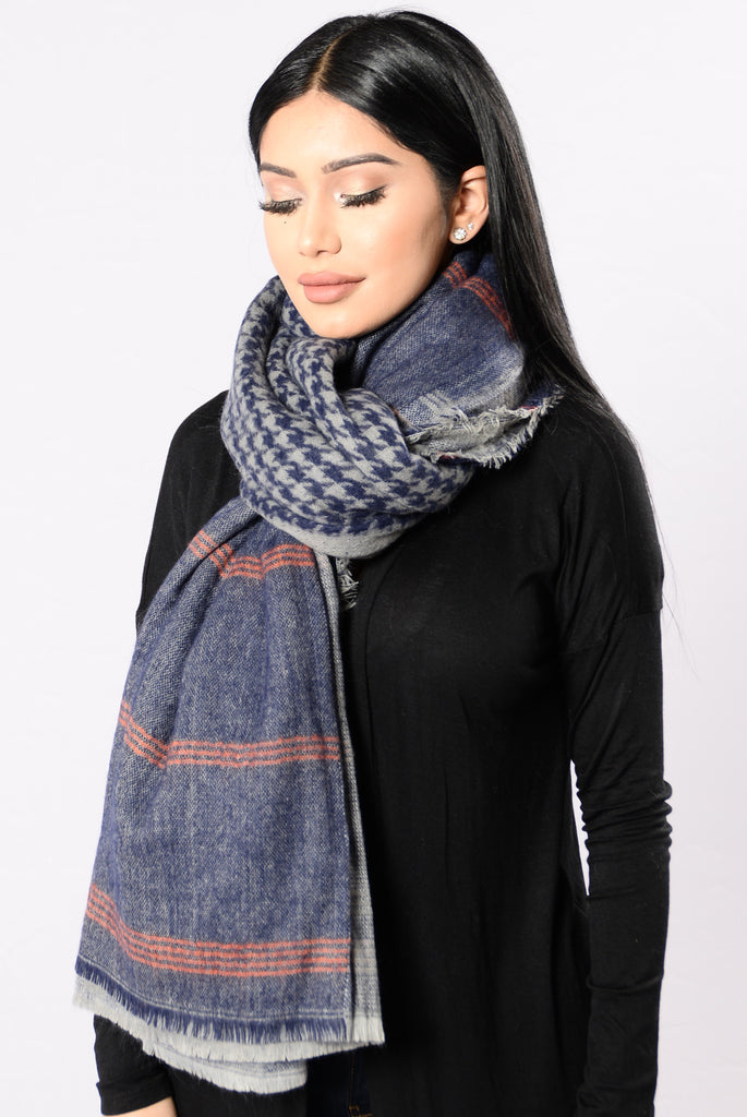 Twice As Nice Blanket Scarf - Blue