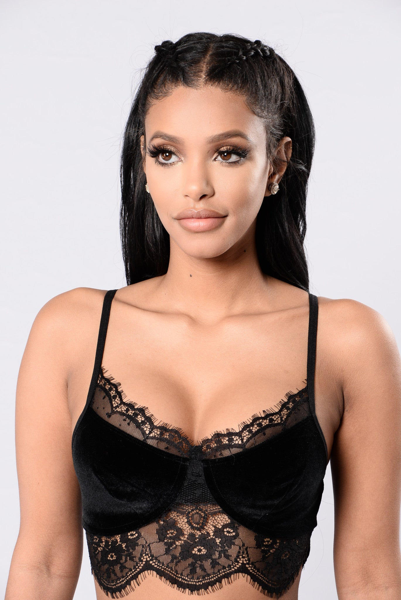 e26f858c06d2c7 Lace And Velvet Kind Of Night Bralette - Black