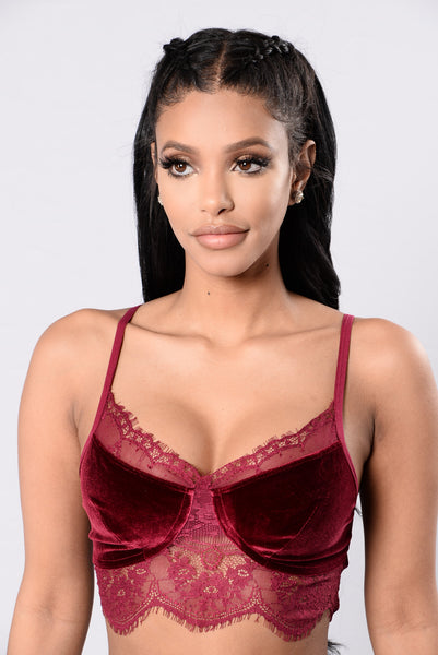 Lace And Velvet Kind Of Night Bralette - Burgundy