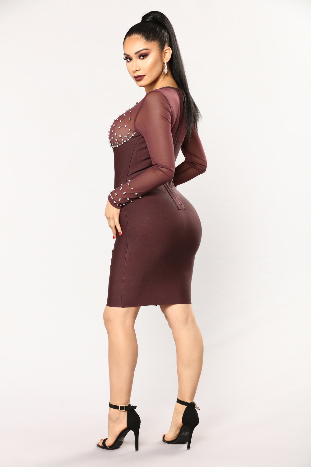 Sprinkled With Shine Dress - Plum