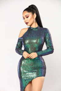 Beautifully Unbalanced Dress - Navy/Green