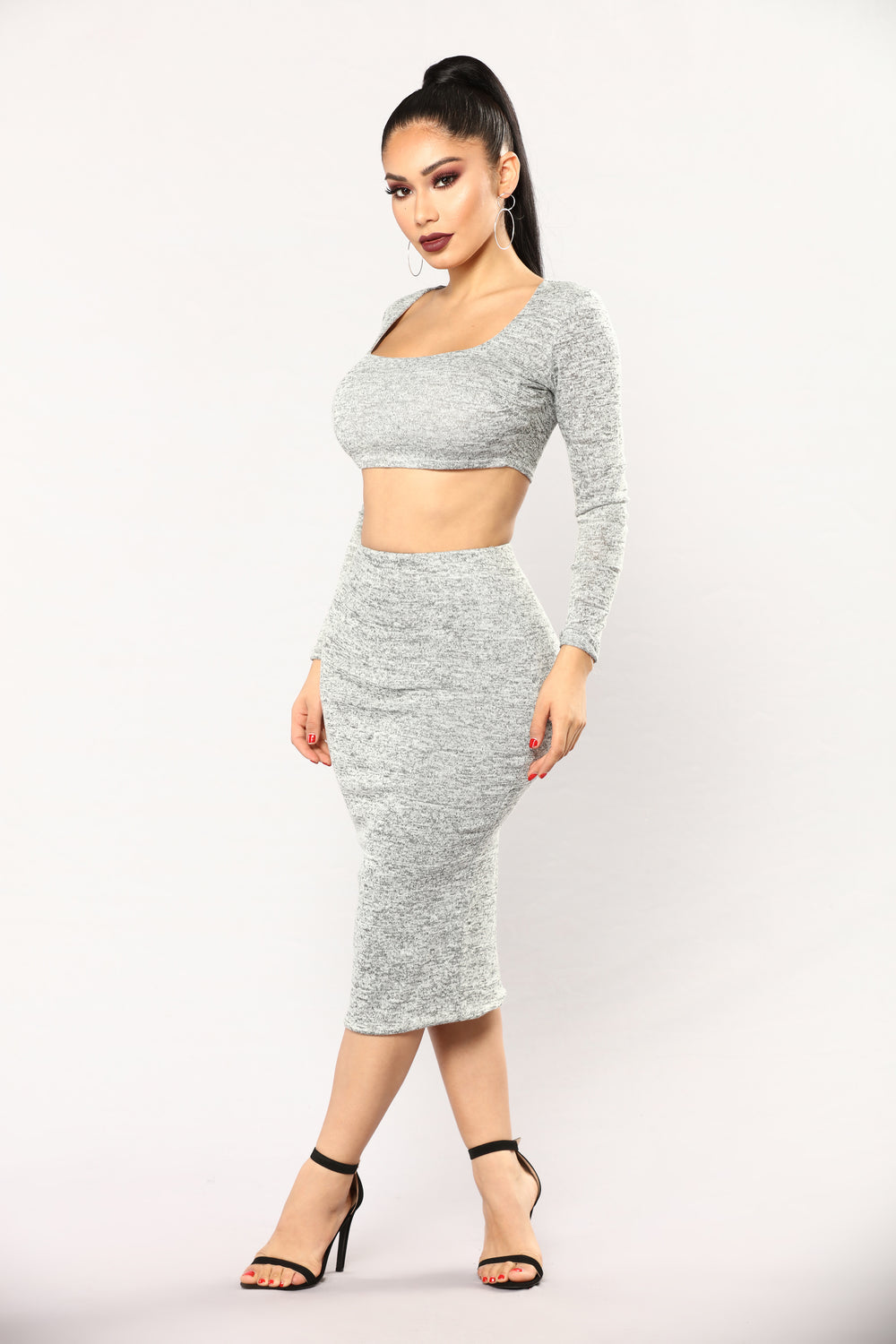Date With Kye Skirt Set - Heather Grey