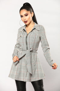 Paris Love Houndstooth Jacket - Plaid