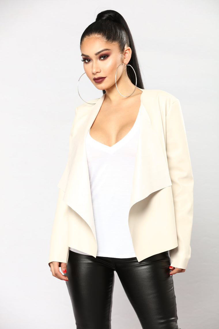 Lily Faux Leather Jacket - Nude