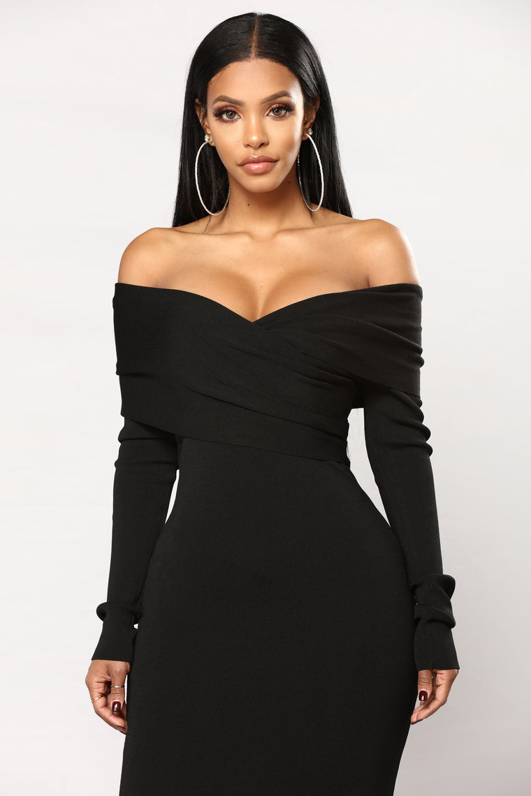 Feeling Crossed Midi Dress - Black