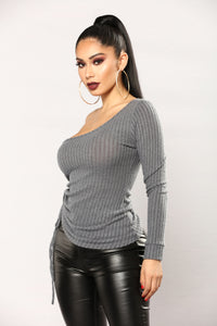 Janet One Shoulder Top - Charcoal Angle 4