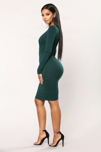 Majorie Criss Cross Dress - Hunter Green