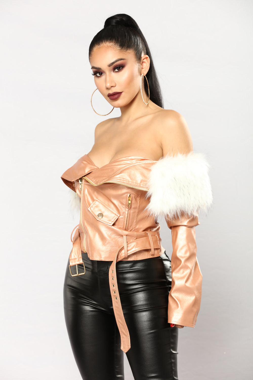 Samantha II Metallic Motto Jackets - Rose Gold