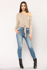 Come Together Front Tie Top - Mocha