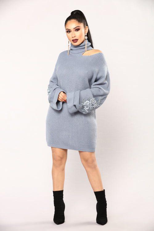 Winter Frost Sweater - Dusty Blue