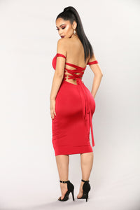 Framed Lace Up Dress - Red