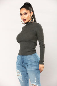 Amelia Turtle Neck Sweater Top - Charcoal
