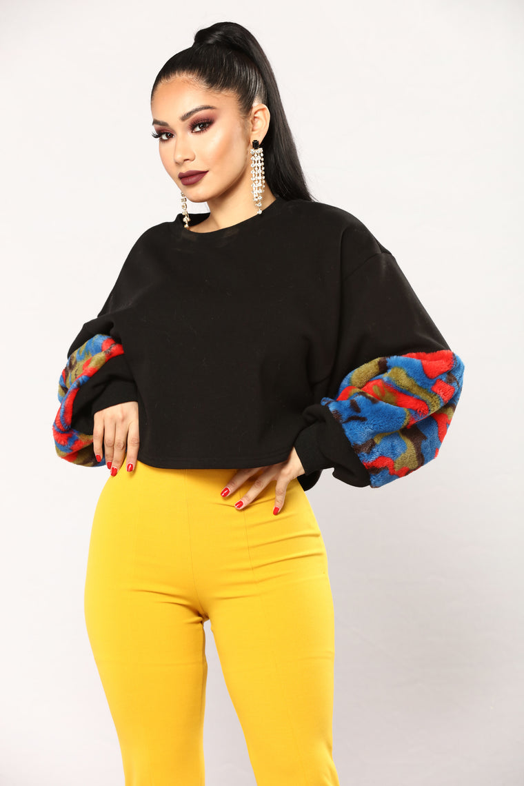 Colorful Faux Fur Top - Black/Multi
