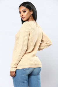 Lace Up Twist Sweater - Ivory