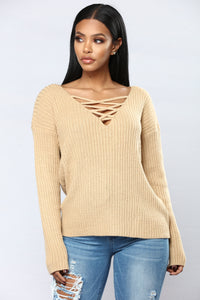 Yevana Lace Up Sweater - Mocha