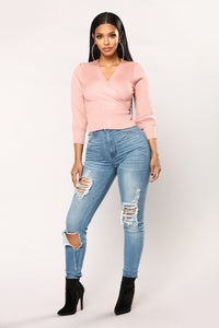 Hard To Be Humble Wrap Sweater - Pink