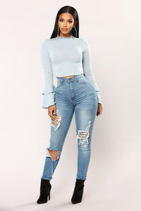 Sage Bell Sleeve Top - Dusty Blue Angle 2