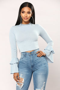 Sage Bell Sleeve Top - Dusty Blue Angle 1