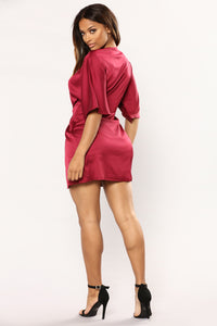 Sugar Mama Satin Dress - Wine Angle 4