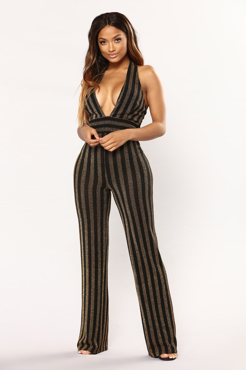 Any Time You Need A Friend Jumpsuit - Black/Gold