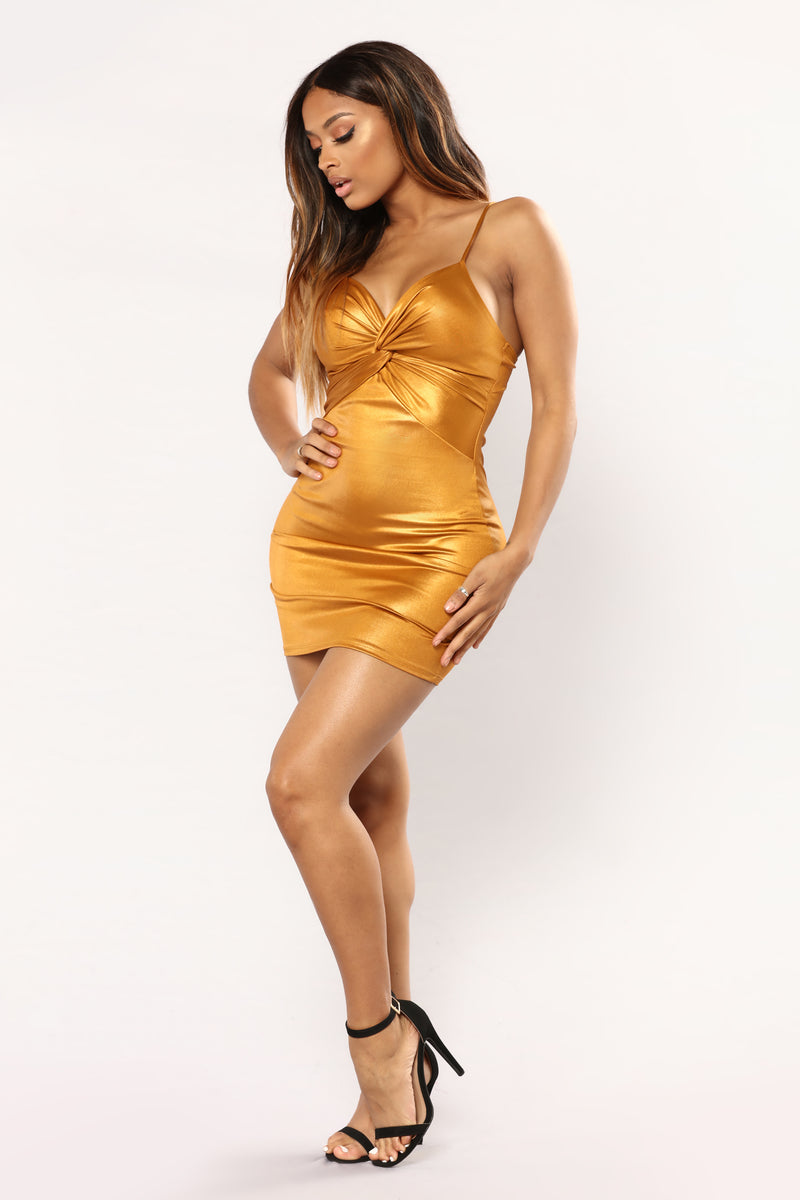 Sugar High Knot Dress - Gold