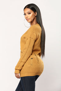 Amelia Distressed Sweater - Mustard