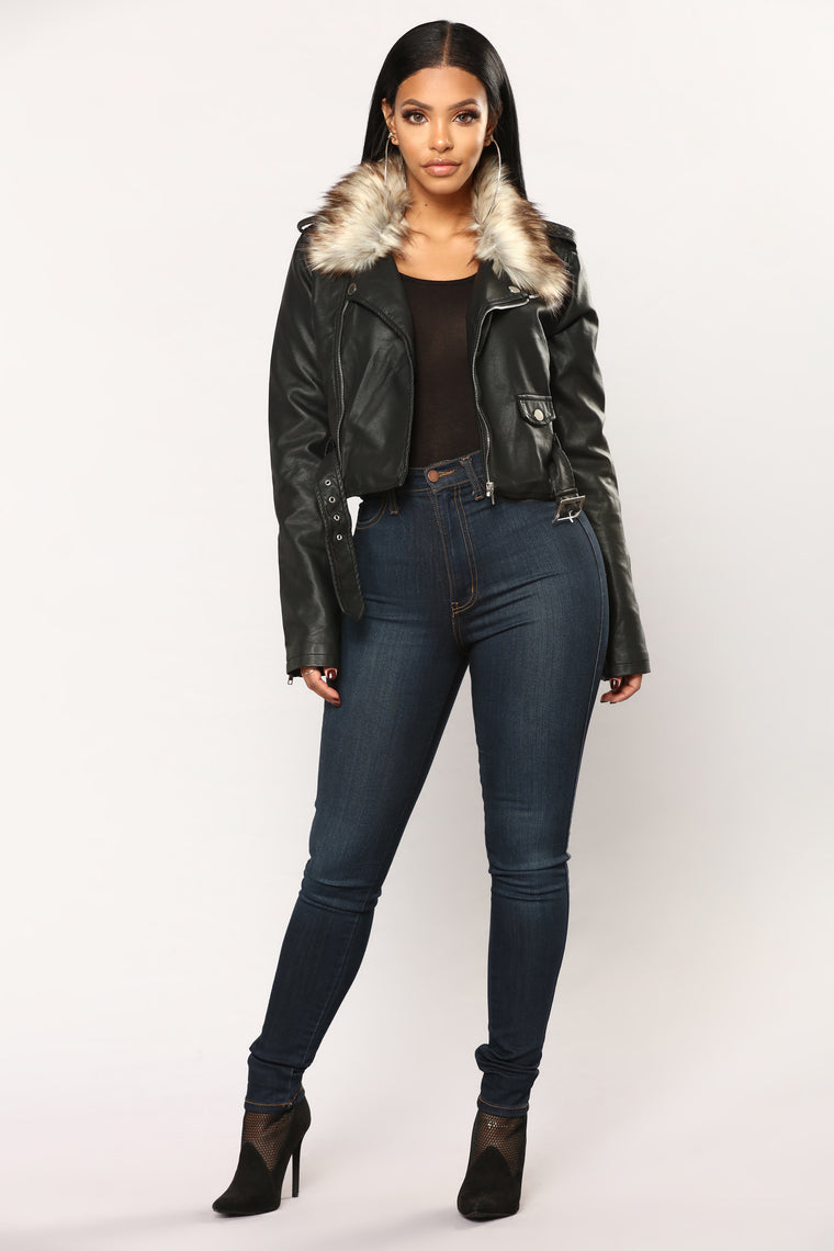 Kandace II Faux Leather Jacket - Black/Brown