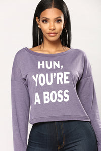 Hun You're A Boss Tee - Purple