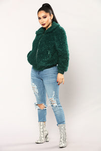 Cuddle Bug Faux Fur Jacket - Hunter