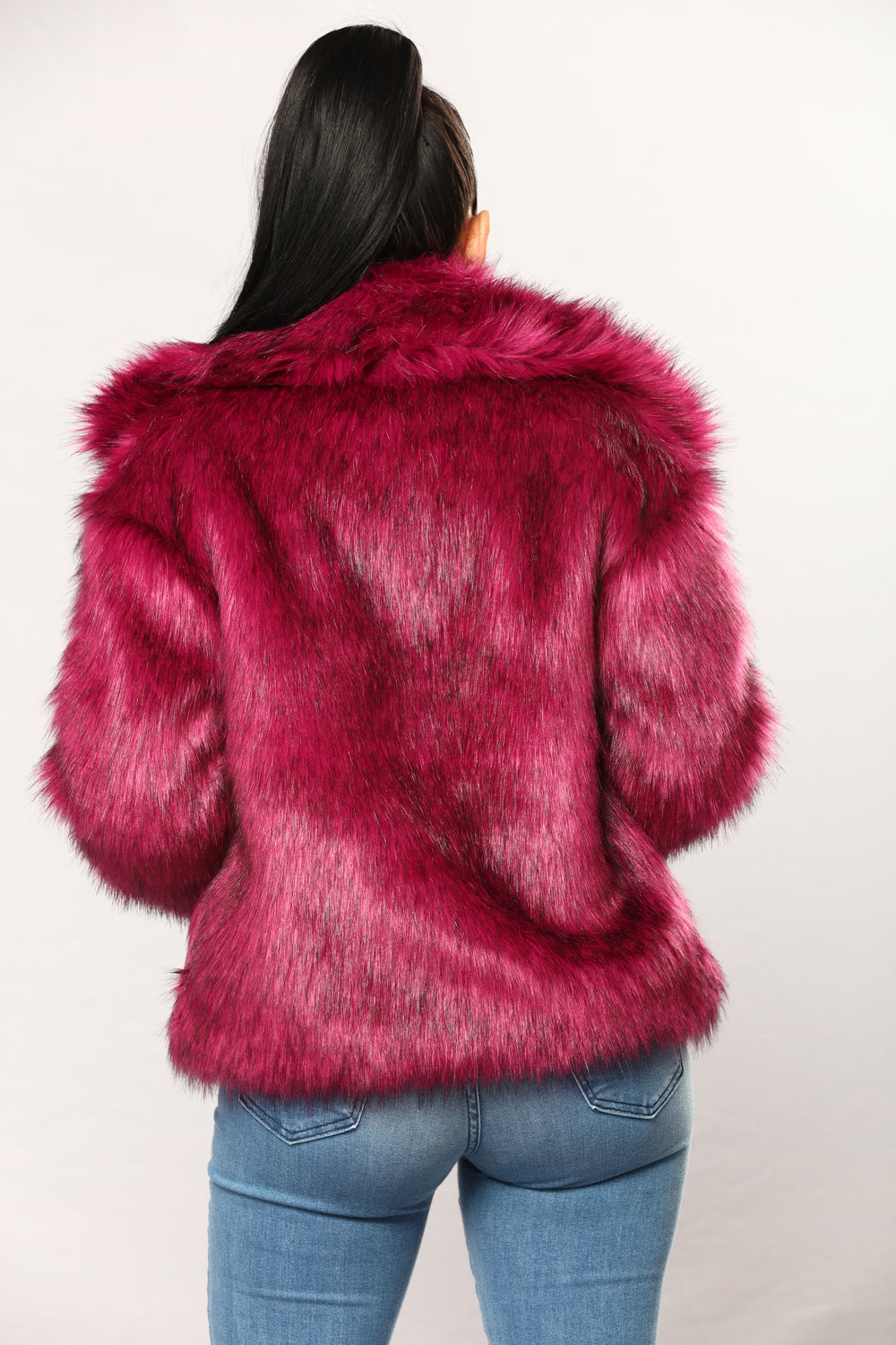 In My Own World Faux Fur Jacket - Purple Pink