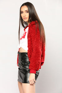 Cuddle Bug Faux Fur Jacket - Red