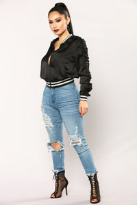 Now And Then Satin Bomber Jacket - Black