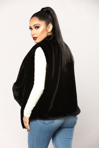 Furever And Ever Faux Fur Vest - Black
