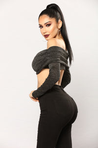 Emina Off Shoulder Crop Top - Black