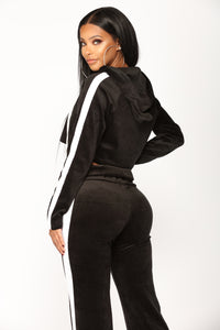 Gianna Stripe Velour Lounge Set - Black