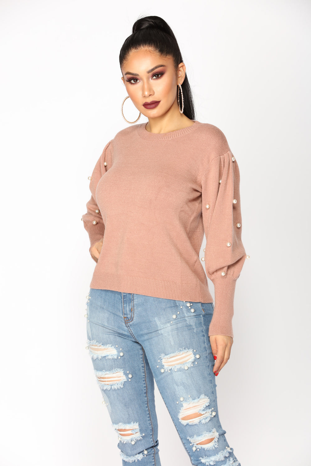 Pearled Dream Sweater - Blush