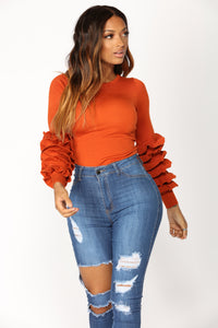 Fired Up Ruffle Sweater - Rust