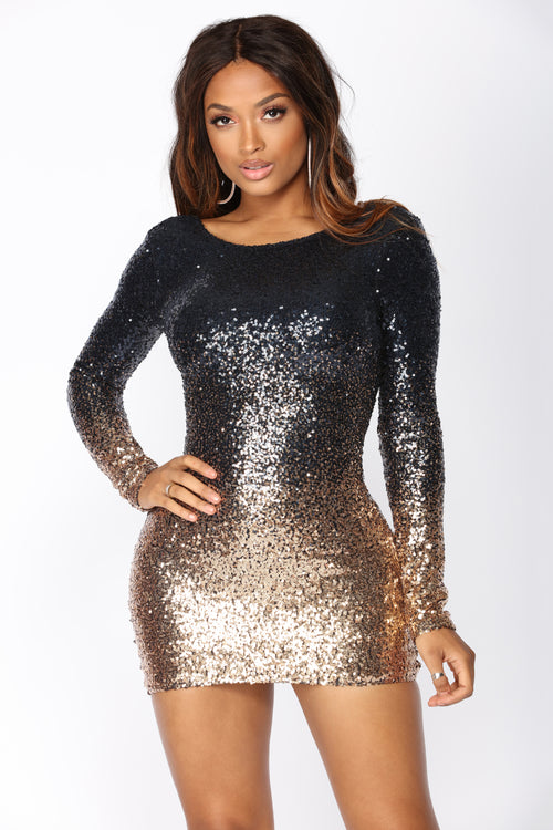 Wynn Sequin Dress - Navy/Rose Gold