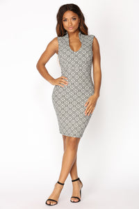 Elaine Midi Dress - Black/White