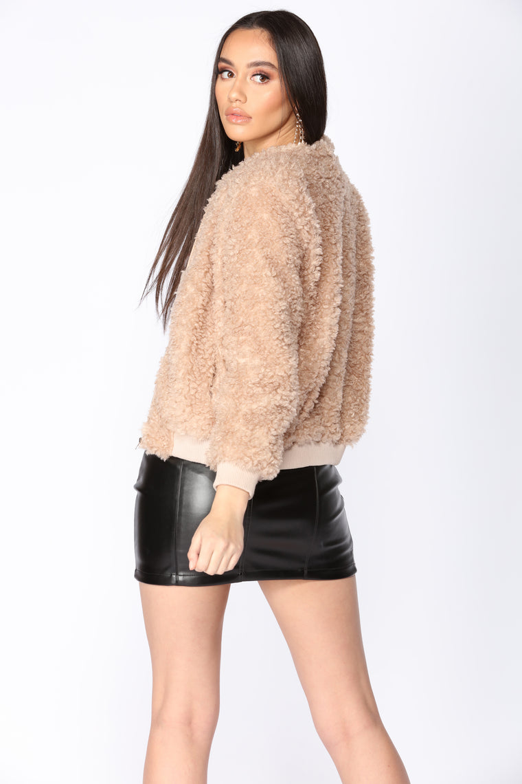 Forever New Angel Faux Fur Coat, Nude at John Lewis & Partners